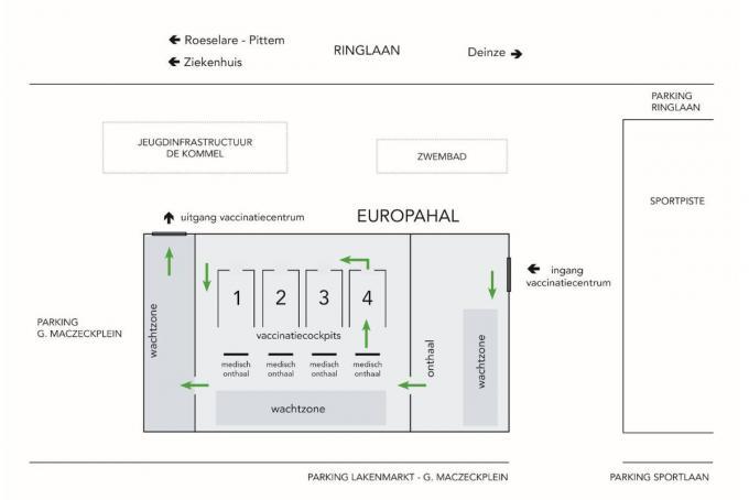 Zo ziet het circulatieplan in de Europahal er uit©Philippe Verhaest Stad Tielt
