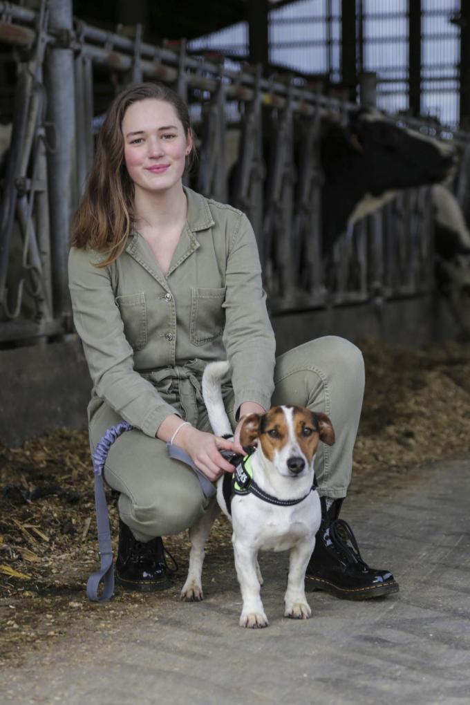 Hanne Veys met haar hondje Baziel.© Hendrik Verplancke