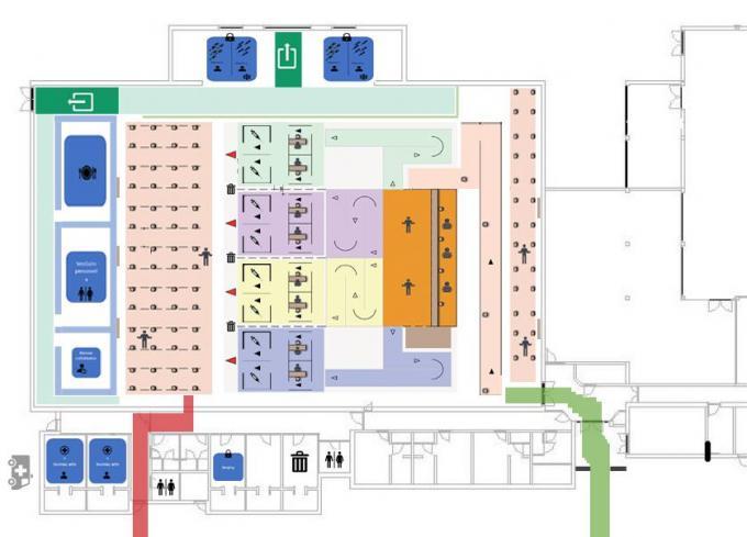 Een plan van hoe het vaccineren straks zal verlopen in Poperinge.© MD