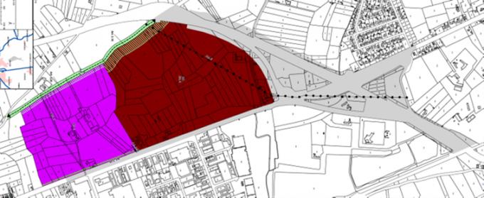 De inplanting van het nieuwe Cercle-stadion langs de Blankenbergse Steenweg in Brugge.