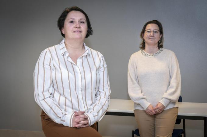 Kathy Desmet en Nele Vandenbulcke, Hilde Vandeputte ontbreekt. (foto SB)©STEFAAN BEEL Stefaan Beel