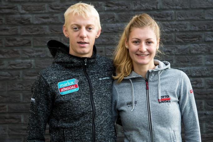 Michael Vanthourenhout en zijn vriendin Kelly van der Steen (foto a-Davy Coghe)© Davy Coghe