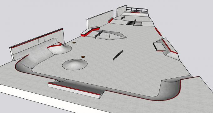 Het ontwerp van het nieuwe Torhoutse skatepark, met dank aan het gespecialiseerde Nederlandse bedrijf Concrete Matters.©JS