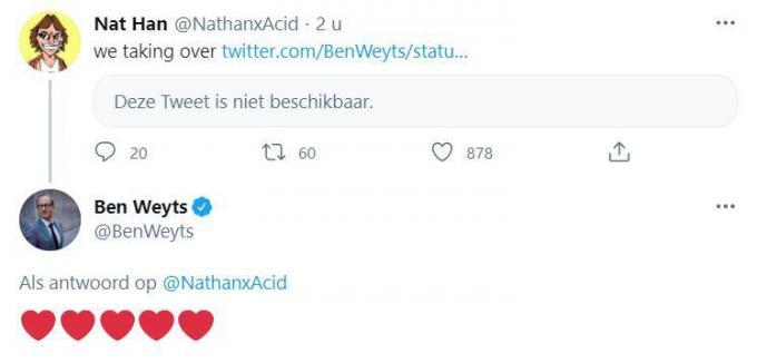 Ben Weyts 2.0 blijkt alvast een fan van Nathan 'Acid' Vanderghunst. (GF)