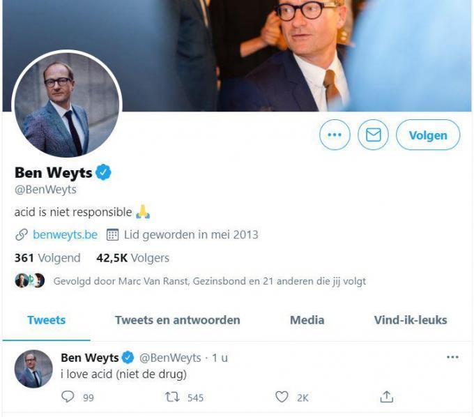 De bewuste account van minister Ben Weyts. (GF)