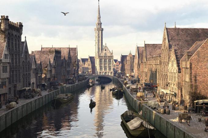 De huidige Spinolarei en Spiegelrei en het Jan Van Eyckplein in Brugge: in de Middeleeuwen een centrum van gonzende bedrijvigheid.© Westtoer