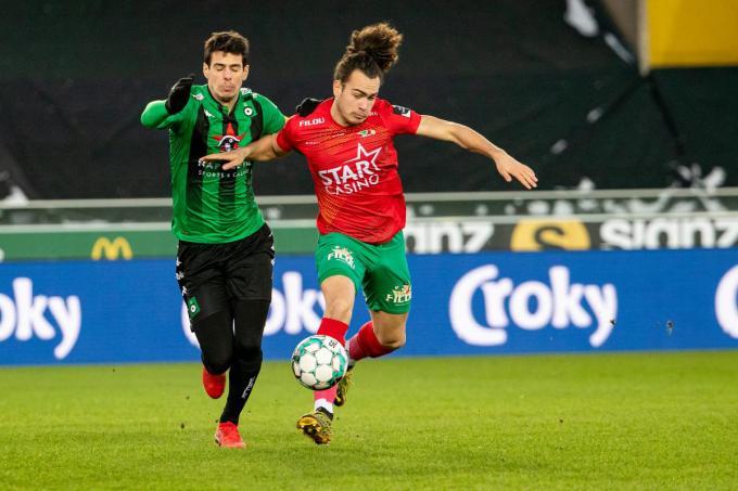 Arthur Theate eerder deze week in actie tegen Cercle Brugge in de Beker van België.© BELGA
