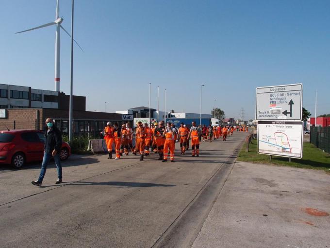 In september protesteerden havenarbeiders in Zeebrugge voor het behoud van de Wet-Major.© RJ