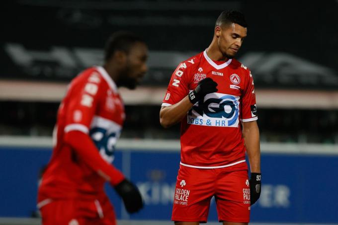 Zinho Gano baalt, Kortrijk haalt het niet van OHL.©BRUNO FAHY BELGA