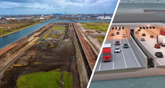 Links: de gigantische bouwput van 1 kilometer lang in Zeebrugge. Rechts: een dwarsdoorsnede van de Scheldetunnel, zoals die er straks moet uitzien.© Kurt/Lantis