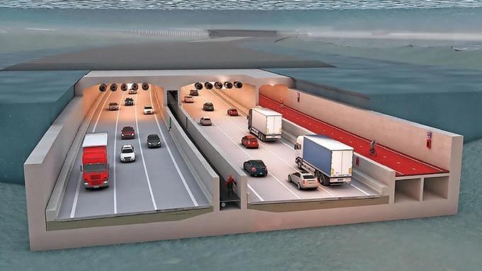 De Scheldetunnel zoals die er straks moet uitzien in Antwerpen. De betonnen tunnel wordt in Zeebrugge gemaakt.© Lantis