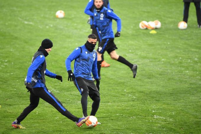 Club Brugge tijdens de training in Kiev.©SERGEI SUPINSKY BELGA