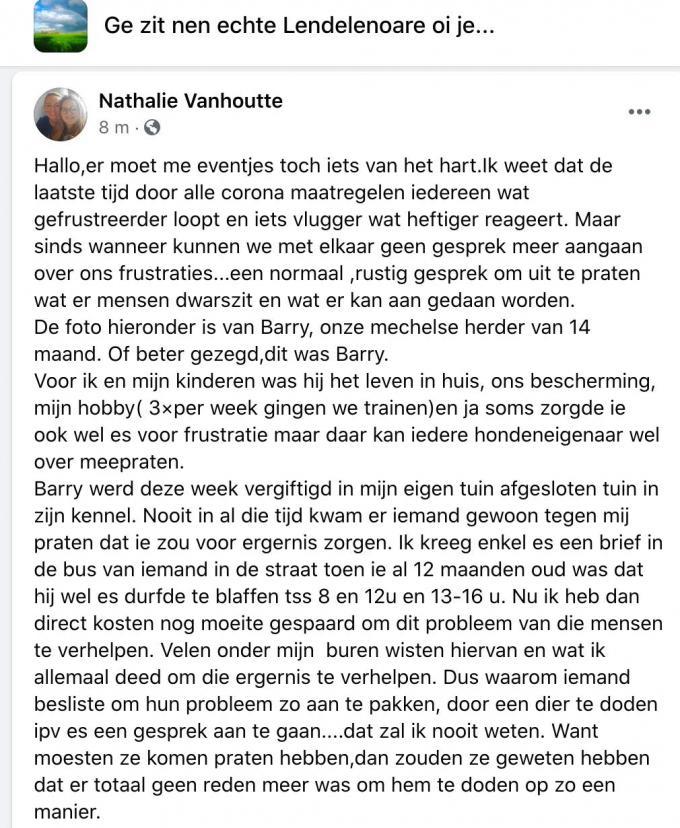 Op Facebook uitte Nathalie haar ongenoegen.
