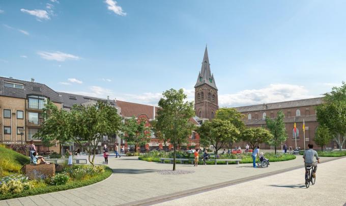 Het Marktplein wordt een stuk groener dan vandaag het geval is.© Gemeente Kuurne