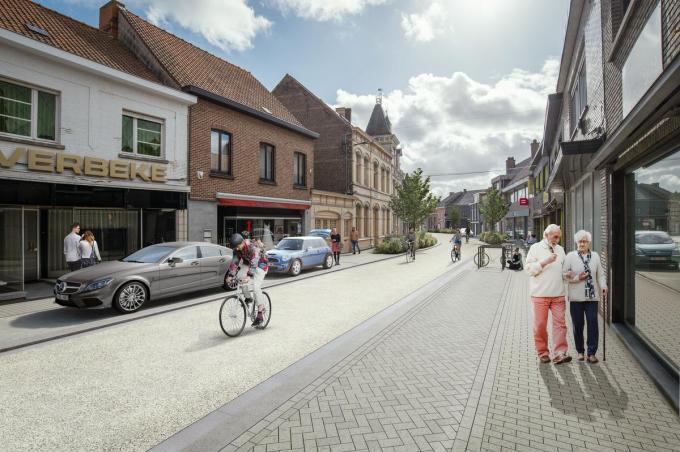 De Kerkstraat is een van de centrumstraten die een hele metamorfose ondergraat.© Gemeente Kuurne