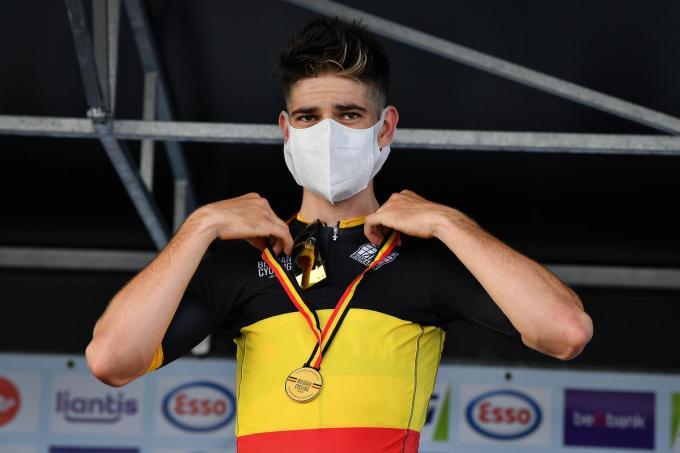 Vorig jaar was Wout Van Aert de beste Belgische tijdrijder. Staat in Ingelmunster straks 'local hero' Yves Lampaert op het hoogste schavotje?©DAVID STOCKMAN BELGA