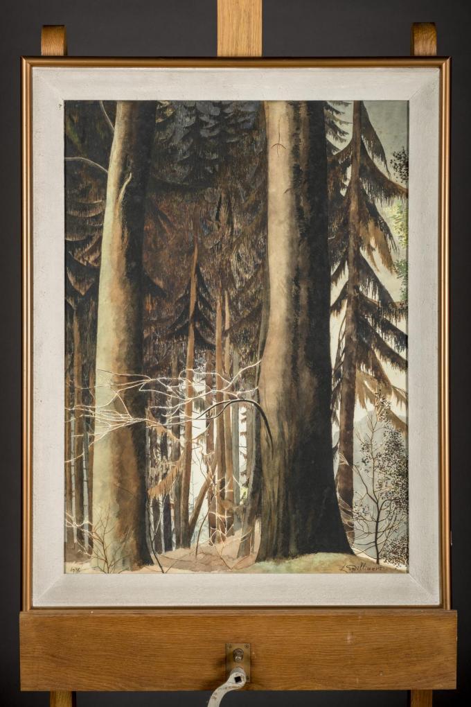 Een ongetiteld werd dat bomen in de Hoge Venen voorstelt, van omstreeks 1937.© Loeckx Veilinghuis