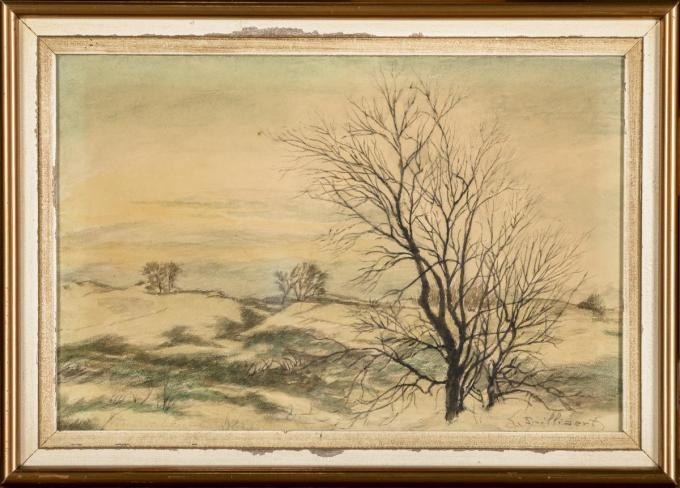 Ongetiteld werk uit de jaren '30, stelt heidelandschap voor.© Loeckx Veilinghuis