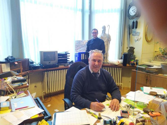 Johan Schietgat en zijn opvolger Koen Vanwynsberghe. (foto GF)