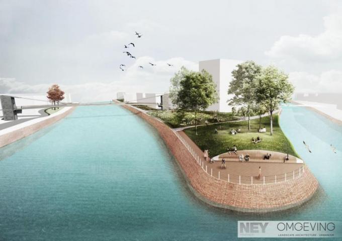 Een toekomstbeeld van de Reepbrug tussen Overleie en de Buda-tip. Groen betwist de noodzaak van die fietsers- en wandelbrug.© De Vlaamse Waterweg