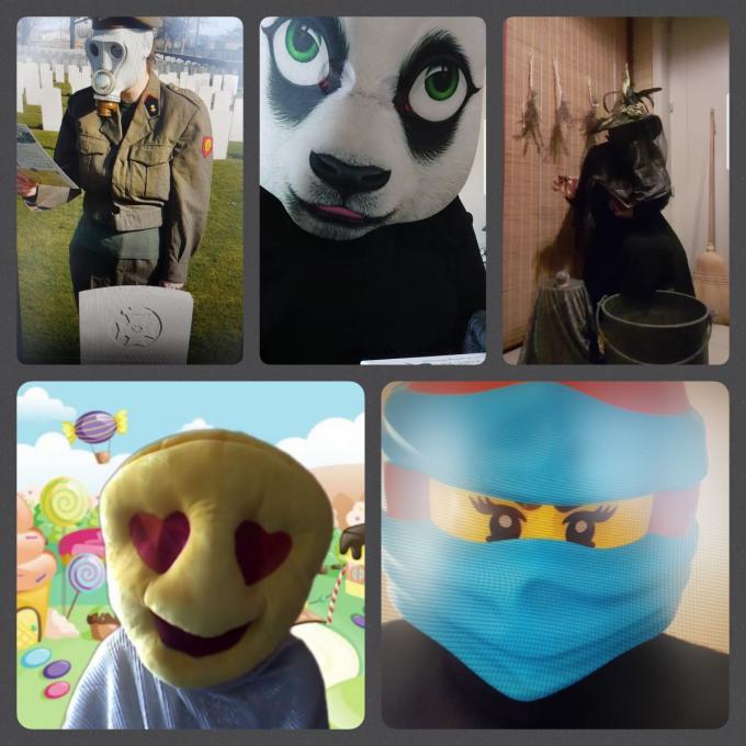 De kinderen moeten raden welke leerkrachten er schuilen achter de maskers van Hartjesemoticon, Soldaat, Panda, Heks en Blauwe Ninja. (Foto TOGH)