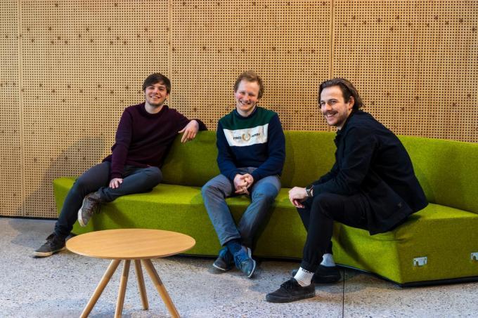 Howest-studenten Tristan Ryckaert, Florens Denys en Stef Crols.©Hilde Bonnier Howest