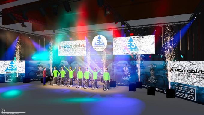 Een simulatie van hoe de ploegenvoorstelling van de E3 Harelbeke eruit zal zien.© GF