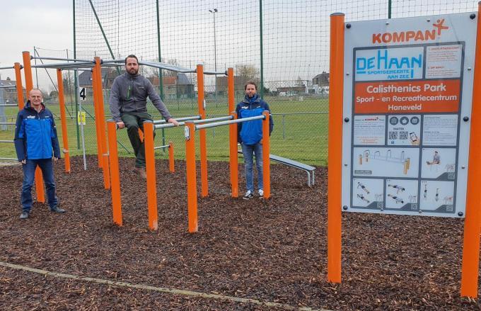 Het nieuwe 'calesthenics parc' aan het sport- en recreatiecentrum Haneveld.© wkv