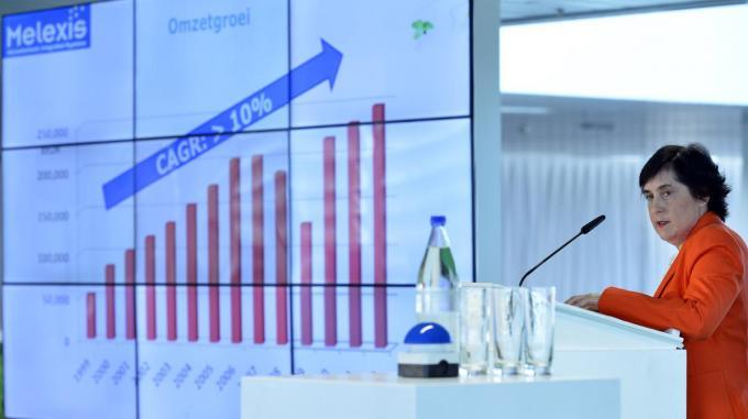 CEO Francoise Chombar van Melexis ziet de goede resultaten beloond met een plaats in de Bel20.©BENOIT DOPPAGNE BELGA