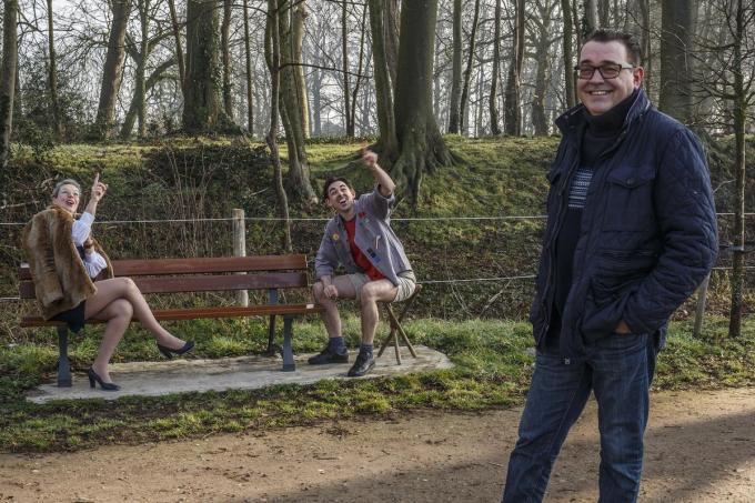 Actrice Freya Dupont en acteur Jo Seys, geflankeerd door regisseur en voorzitter auteur Stefan Cardoen. (foto JS)©jan_stragier Jan Stragier