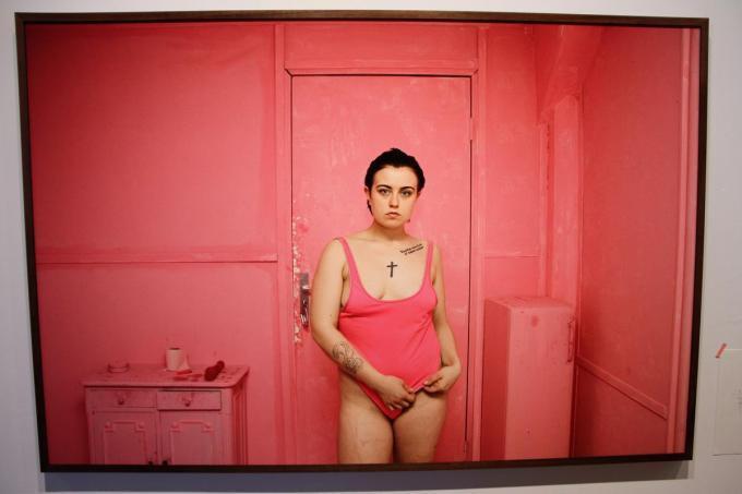Het bewuste roze badpak.©JVGK JVGK