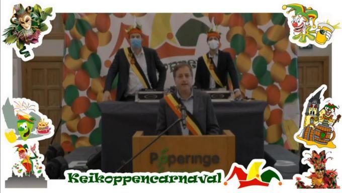 De organisatie trakteerde de Poperingenaars op een online alternatief met speeches van onder anderen burgemeester Christof Dejaegher en dj-sets van bijvoorbeeld Lennert V.© LBR