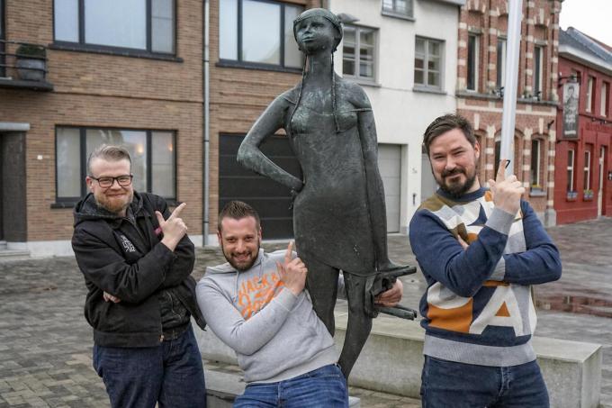 Vlnr: Andy, Michaël, Tineke van Heule en Olivier. (foto CLL)