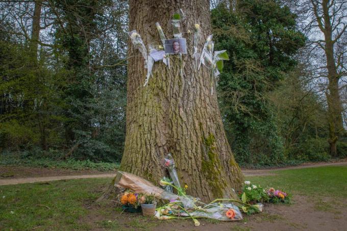 De kapotgeslagen kaarsen en vernielde bloemen werden door de familie weggenomen. Zondagmiddag lag het herdenkingsplekje voor Leo er opnieuw opgeruimd bij.© WME