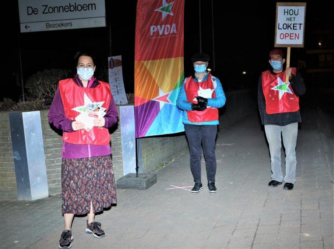Vanessa De Latter, Vivienne Gadeyne en Dirk De Zutter van PVDA Diksmuide-Veurne-Westkust©Myriam Van den Putte foto MVO