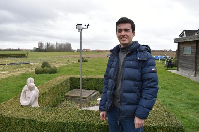 Michiel Bonte heeft een eigen weerstation in de tuin.© TOGH