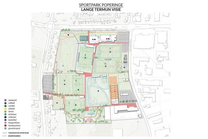 Het plan van hoe het sportpark er op termijn moet uitzien.© MD