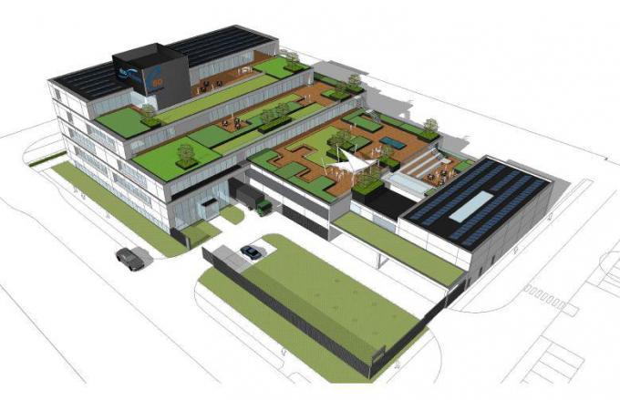 Zo zal het gebouw van e-Bo er na afwerking uitzien. Opvallend zijn de terrassen met groendaken.© gf/e-Bo