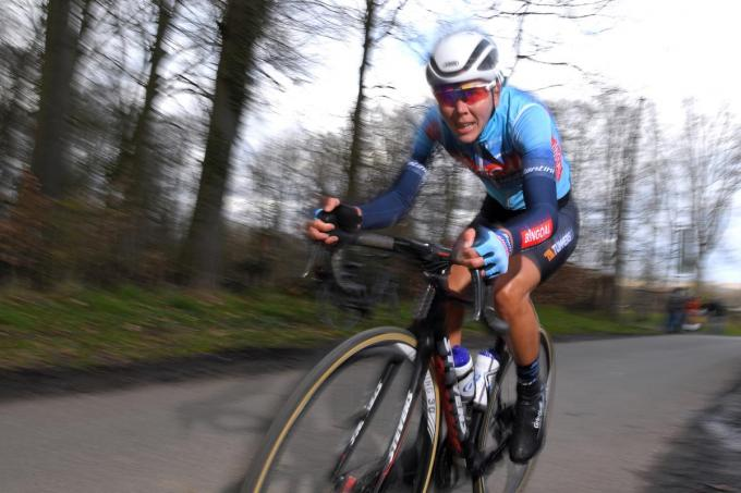 Justine Ghekiere is bezig aan haar allereerste seizoen als wielrenster en staat zondag meteen aan de start van de Ronde van Vlaanderen. (Getty Images)©Luc Claessen Getty Images