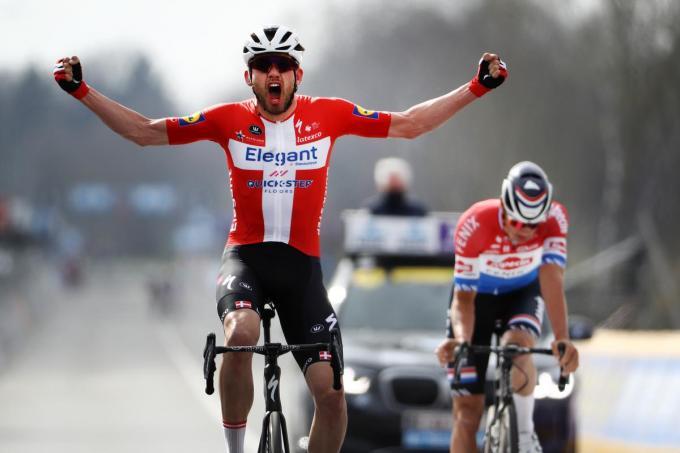 De Deense Kasper Asgreen van Deceuninck - Quick-Step wint de Ronde van Vlaanderen.©DAVID PINTENS BELGA