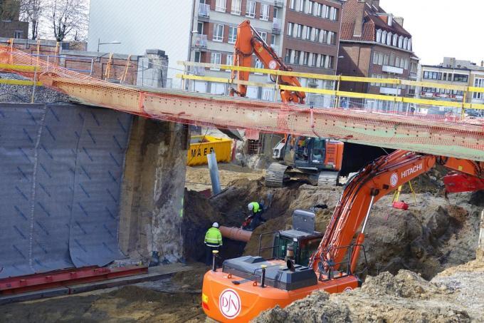 Er moesten aan de andere kant van de tunnel nog graafwerken gebeuren.© AN