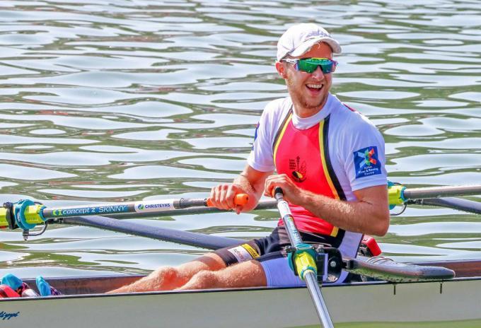 Niels Van Zandweghe neemt op het EK niet deel met Tim Brys maar roeit er wel in lichte skiff.© gf