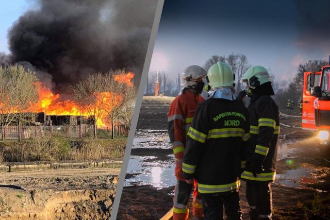 Rechts zien we Kapitein Lahousse die met zijn Franse collega's overlegt.©DESSAUVAGES MAXIME Brandweer WAPI