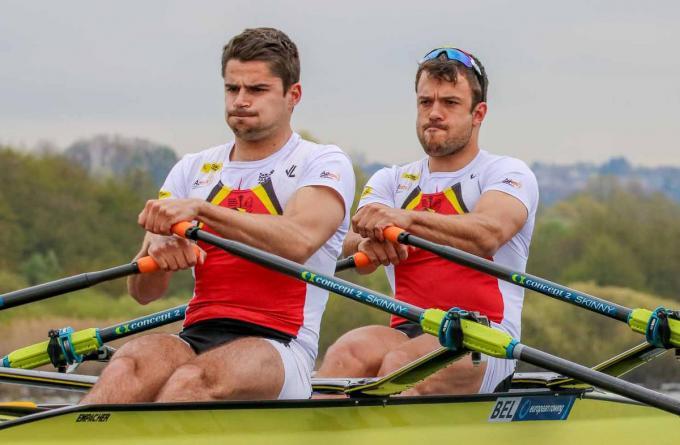 Ruben Claeys en Pierre De Loof werden tweede in de C-finale.© Facebook Vlaamse Roeiliga