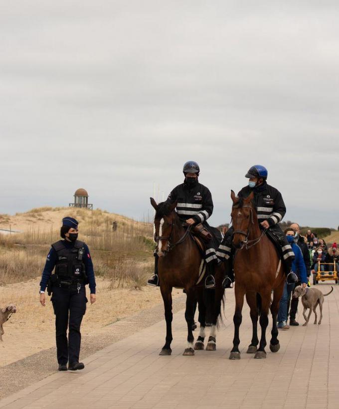 Ook de bereden politie houdt toezicht.© DM