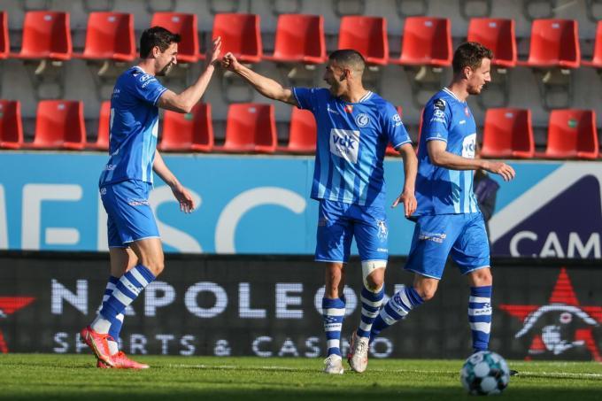 Yaremchuk viert zijn doelpunt.© BELGA