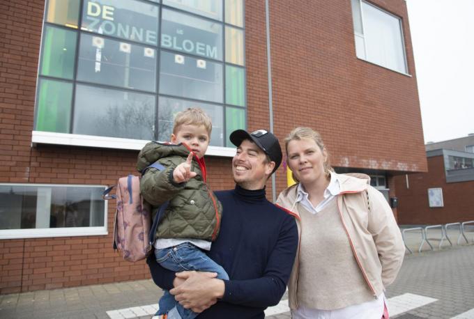 Jules Tanghe uit Beernem mag eindelijk naar de peuterklas in de vrije basisschool De Zonnebloem.©michel vanneuville
