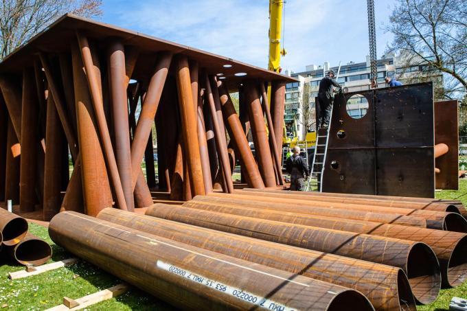 Triënnale Brugge 2021: De installatie Colonnade Gijs Van Vaerenbergh.© Davy Coghe