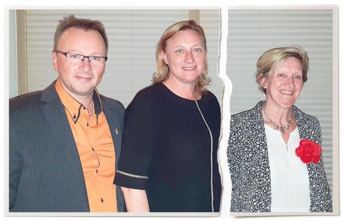 Sandy Buysschaert (CD&V), Daphne Dumery (N-VA) en Annie De Pauw (Vooruit) enkele jaren geleden toen alles nog peis en vree leek.© WK