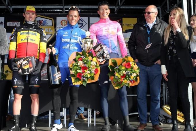 De voorlopig laatste editie van Leiedal Koerse werd in mei 2019 gewonnen door Philippe Gilbert, voor Yves Lampaert en Sep Vanmarcke.© Bart